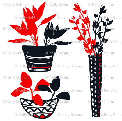 Potted Herbs - Red & Black