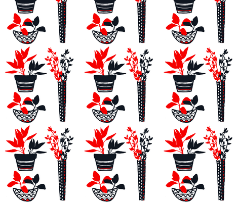 Potted Herbs - Red & Black fabric by greenbird_design on Spoonflower - custom fabric