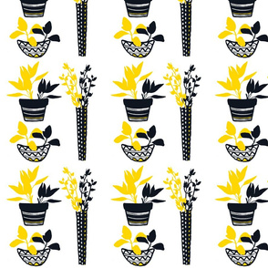 Potted Herbs - Yellow & Black