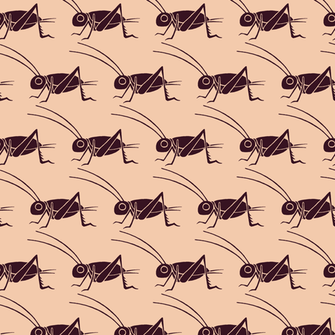 Crickets - Vintage Matchbox - Dark on Peach fabric by siya on Spoonflower - custom fabric