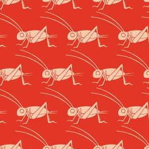 Crickets - Vintage Matchbox - Peach on Red