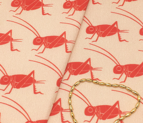 Crickets - Vintage Matchbox - Red on Peach