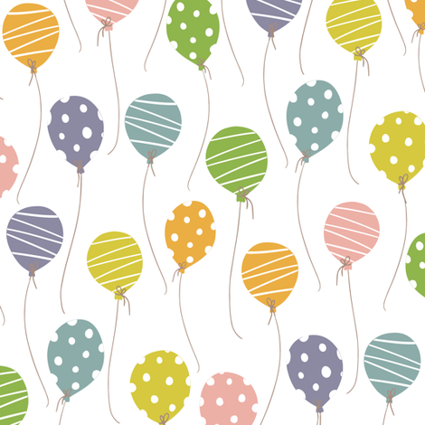 Cactus Party Balloons fabric by red_raspberry_design on Spoonflower - custom fabric