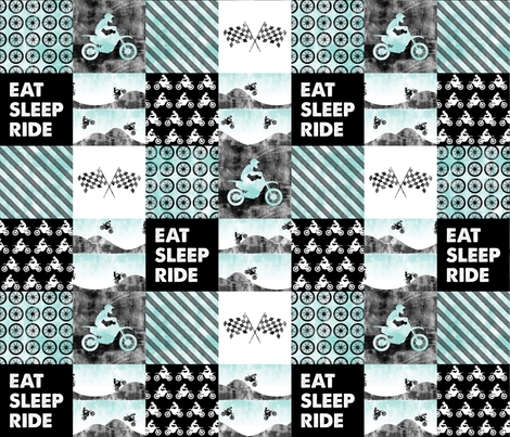 Motocross Patchwork - EAT SLEEP RIDE - Blue fabric by littlearrowdesign on Spoonflower - custom fabric
