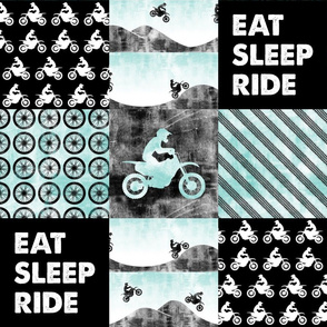 Motocross Patchwork - EAT SLEEP RIDE - Blue