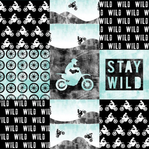 Motocross Patchwork - Stay Wild - Blue