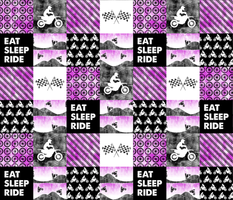 Motocross Patchwork - EAT SLEEP RIDE - Purple fabric by littlearrowdesign on Spoonflower - custom fabric