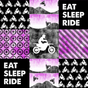 Motocross Patchwork - EAT SLEEP RIDE - Purple