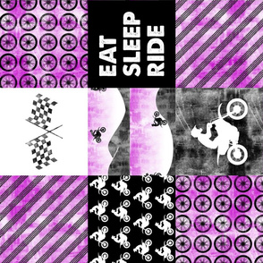 Motocross Patchwork - EAT SLEEP RIDE - Purple (90)