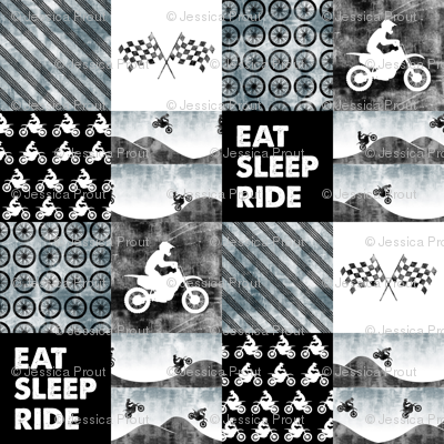Motocross Patchwork - EAT SLEEP RIDE - Faded blue