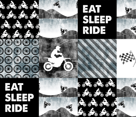 Motocross Patchwork - EAT SLEEP RIDE - Faded blue fabric by littlearrowdesign on Spoonflower - custom fabric