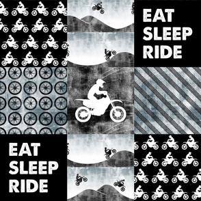 Motocross Patchwork - EAT SLEEP RIDE - Faded blue