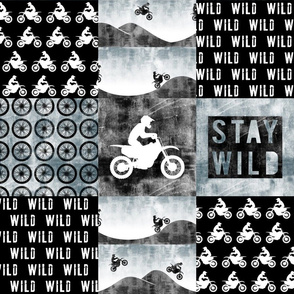 Motocross Patchwork - Stay Wild - Faded blue