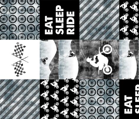 Motocross Patchwork - EAT SLEEP RIDE - Faded blue (90) fabric by littlearrowdesign on Spoonflower - custom fabric