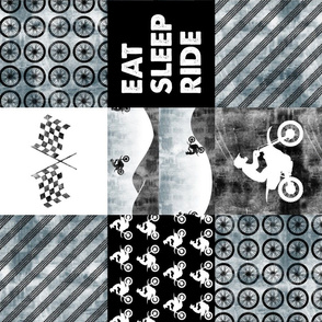 Motocross Patchwork - EAT SLEEP RIDE - Faded blue (90)
