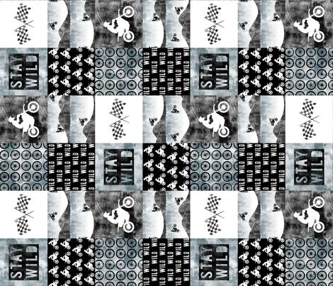 Motocross Patchwork - Stay Wild - Faded blue (90) fabric by littlearrowdesign on Spoonflower - custom fabric