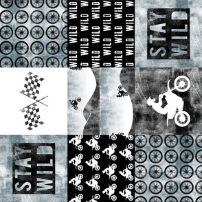 Motocross Patchwork - Stay Wild - Faded blue (90)
