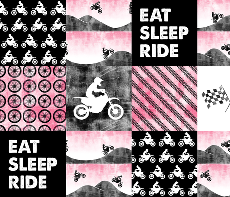 Motocross Patchwork - EAT SLEEP RIDE - Pink fabric by littlearrowdesign on Spoonflower - custom fabric