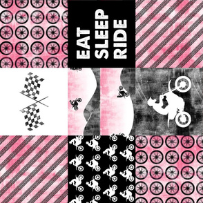 Motocross Patchwork - EAT SLEEP RIDE - Pink (90)