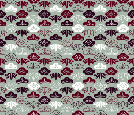 Sho Chiku Bai (Three Friends of Winter) fabric by mongiesama on Spoonflower - custom fabric