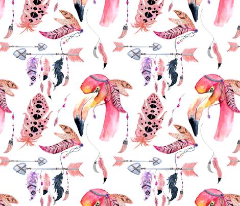 Boho flamingo fabric by evgeniiasart on Spoonflower - custom fabric