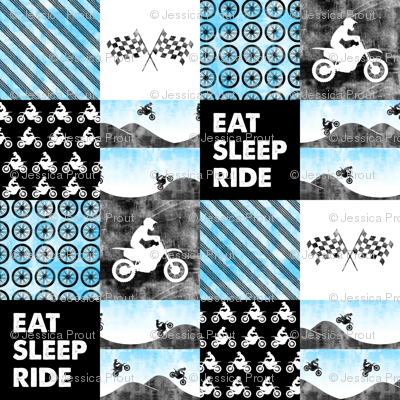 Motocross Patchwork - EAT SLEEP RIDE - Bright Blue