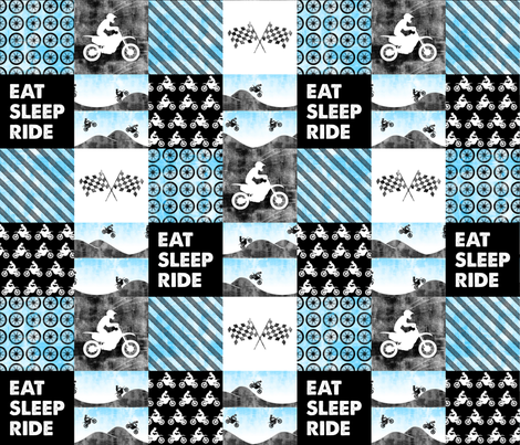 Motocross Patchwork - EAT SLEEP RIDE - Bright Blue fabric by littlearrowdesign on Spoonflower - custom fabric