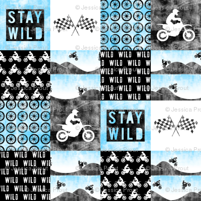 Motocross Patchwork - Stay Wild -  Bright blue
