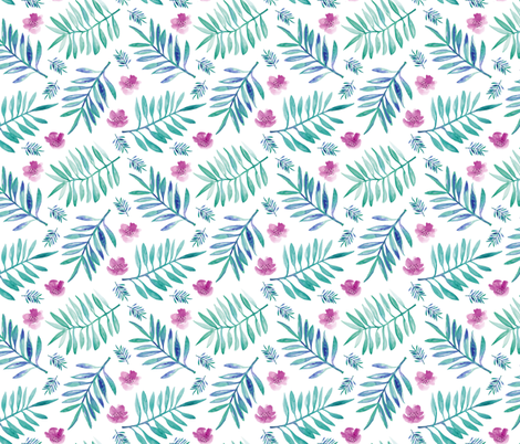 Botanical garden watercolors summer palm leaves and flower blossom blue pink fabric by littlesmilemakers on Spoonflower - custom fabric