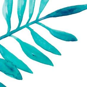 Botanical garden watercolors summer palm leaves blue  XL jumbo