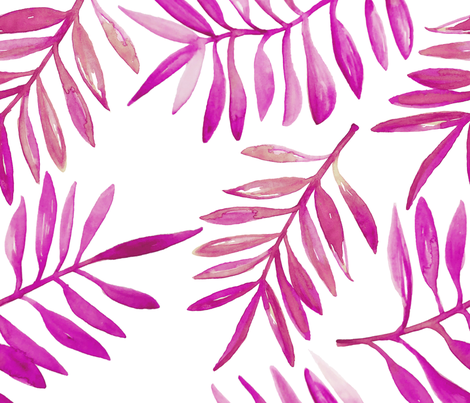 Botanical garden watercolors jungle summer palm leaves bright pink jumbo xl fabric by littlesmilemakers on Spoonflower - custom fabric