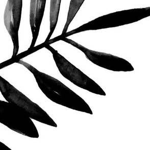 Botanical garden watercolors summer palm leaves monochrome black and white jumbo