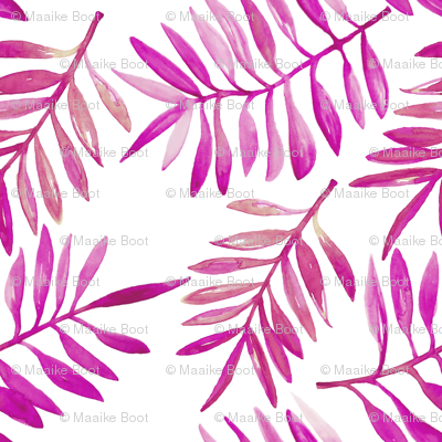 Botanical garden watercolors summer palm leaves bright pink xs