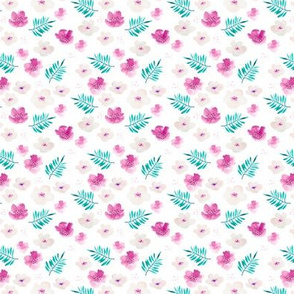 Botanical garden watercolors summer palm leaves and cherry flowers blossom teal pink dots xs
