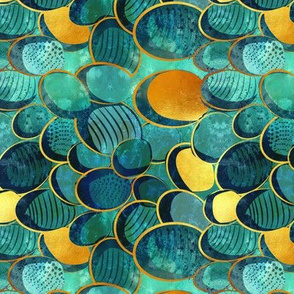 Abstract deep teal // small scale // watercolor teal variations golden lines