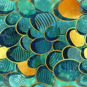 Abstract deep teal // normal scale // watercolor teal variations golden lines