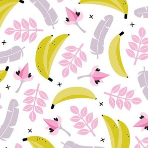 Summer banana jungle tropical flowers hawaii kids print girls