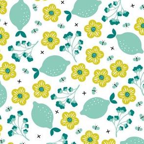 Summer lemons and lime garden butterfly botanical fruit print mint gender neutral
