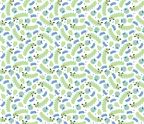 Sweet caterpillar apple fruit garden summer print mint boys fabric by littlesmilemakers on Spoonflower - custom fabric