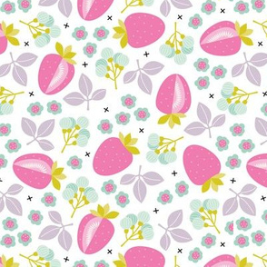 Sweet strawberry illustration garden plants farmer's market design pink lilac