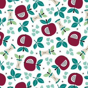 Sweet apple garden and botanical leaves and black berries autumn print