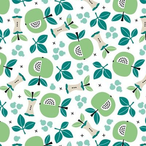 Sweet apple garden and botanical leaves and black berries autumn print mint boys