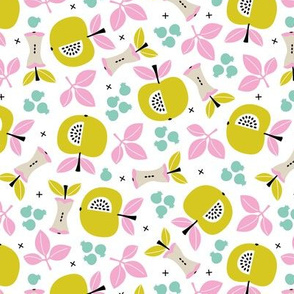 Sweet apple garden and botanical leaves and black berries autumn print pink yellow