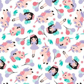 Princess and unicorn pegasus party print with birds and balloons lilac