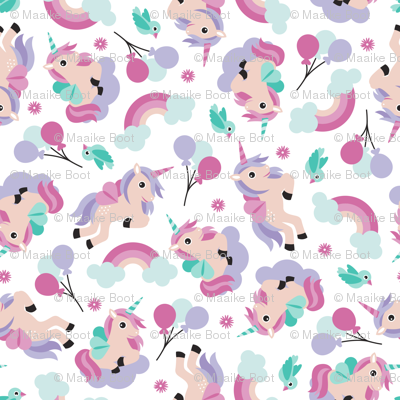 Rainbow and unicorn pegasus party print with birds and balloons lilac