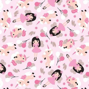 Princess and unicorn pegasus party print with birds and balloons pink