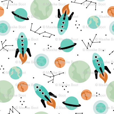 Magic rocket ship astronauts space cool galaxy planet print with moon and stars