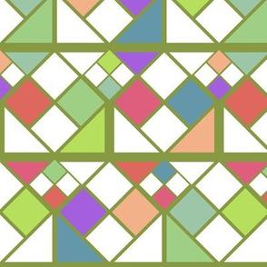 Geometric Rubiks Cute Digital Block Pattern - Green