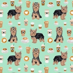 yorkie coffee (smaller scale) fabric yorkshire terrier coffee design cute dogs fabric