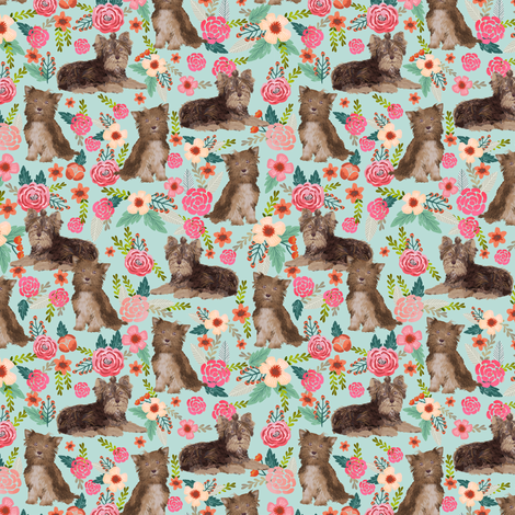 chocolate yorkie (smaller scale) fabric cute chocolate yorkshire terrier florals vintage style floral fabric cute christmas fabrics fabric by petfriendly on Spoonflower - custom fabric